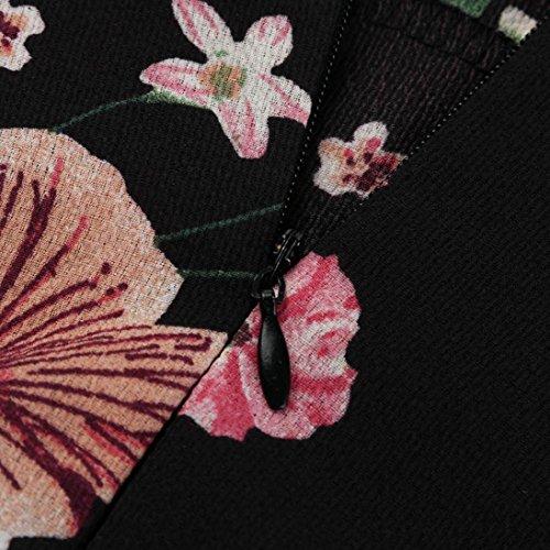 Corta Estampado Alta con Vestido Mujer de Vestido Corta Sexy Cintura Faldas Casual para Manga Mujer Florales Verano Vestido Fiesta Volantes Pretina Trapecio Negro Ropa PAOLIAN Playa V Cuello TPF8Zff7