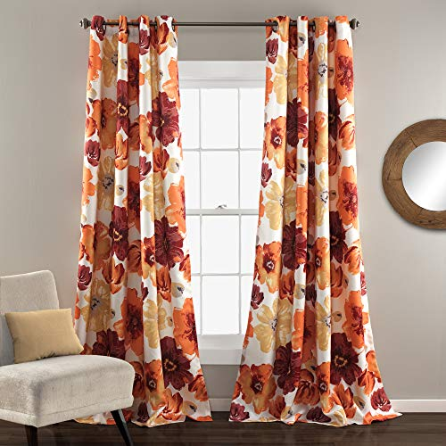 "Lush Decor Leah Floral Room Darkening Window Panel Curtain Set for Living, Dining, Bedroom (Pair), 84"" L, Red and Orange"