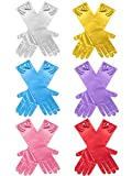 Zhanmai 6 Pairs Girls Satin Gloves Princess Dress Up Bows Gloves Long Formal Gloves for Party, Ages 3 to 8 Years Old (Color 1)