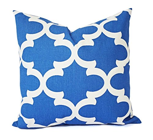 Cobalt Pillow Sham - Royal Blue Pillow Cover - Quatrefoil Trellis Pillow - Custom Sized Pillows