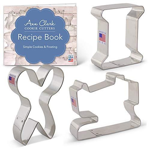 Ann Clark Cookie Cutters 3-Piece Sewing Cookie Cutter Set with Recipe Booklet, Sewing Machine, Spool, Scissors