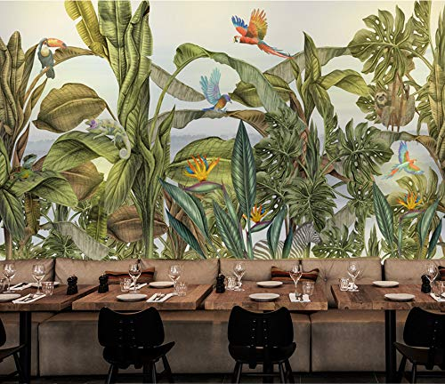 [Customize-Contact us], 3D Large Wallpaper, Tropical Rainforest Plant, Flower, Bird, Animal Forest Removable Wall MuralWall Stickers DIY Wall Murals Home Decor Art