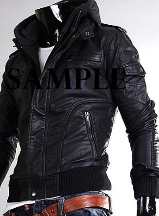 MENS BIKE RIDERS SLIM FIT REMOVABLE HOODED REAL LEATHER JACKET (L ...