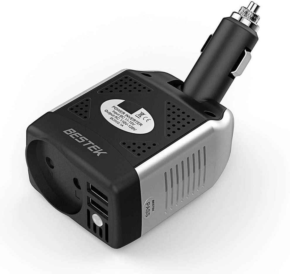 Inversor de Corriente 150W BESTEK Inversor 12v a 220v 1 Puerto de AC y 2 Puertos de USB Convertidor de Coche