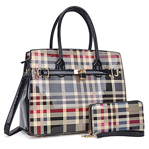 Women Patent Leather Purses and Handbags Ladies Tote Bag Padlock Shoulder Bag Top Handle Satchel with Wallet (Plaid- Black)