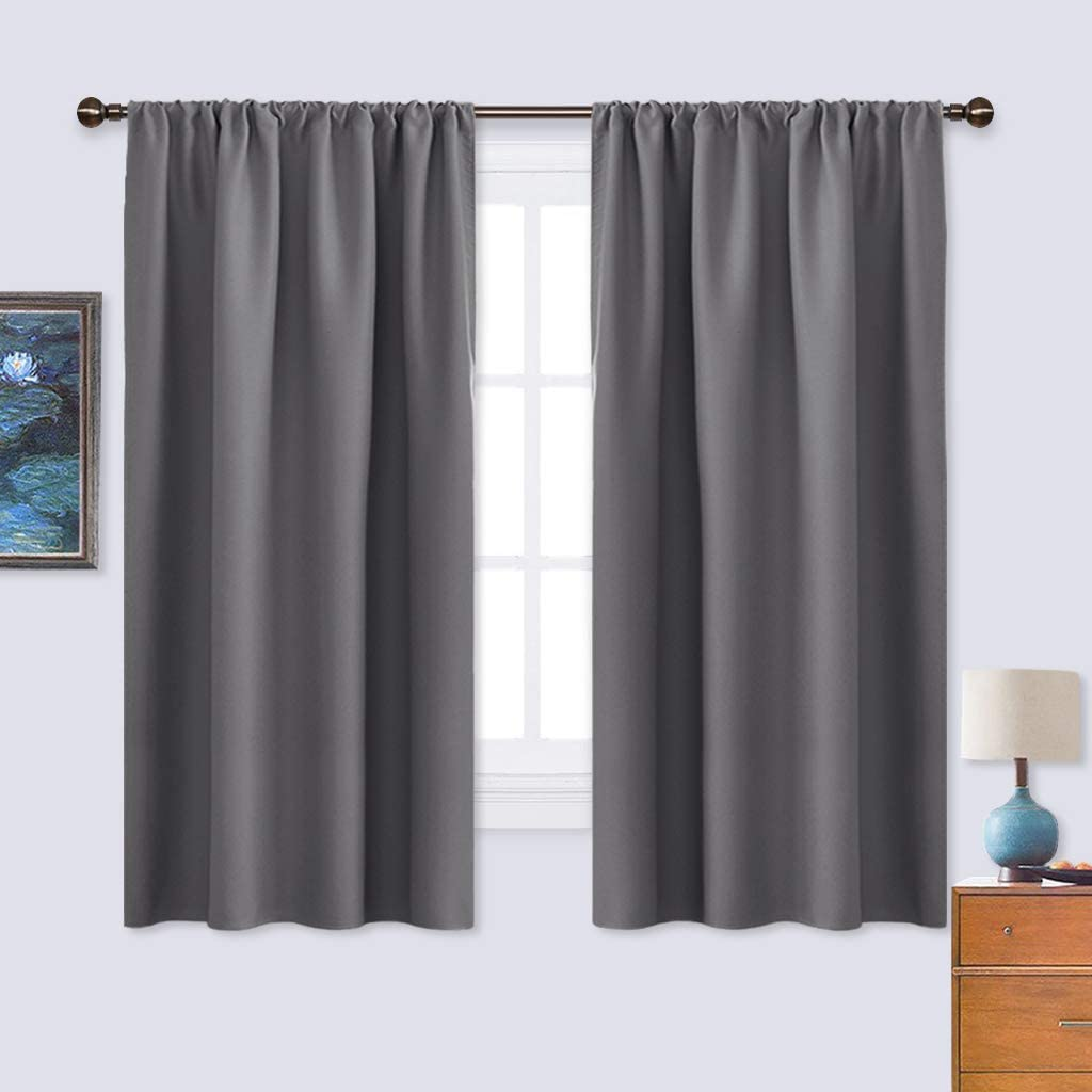 Amazon Com Nicetown Grey Window Curtains For Bedroom Home Decoration Thermal Insulated Rod Pocket Blackout Blinds Drapes For Small Windows Gray 2 Panels W42 X L45 Inch Home Kitchen