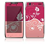 Motorola Droid Razr, Razr Maxx Decal Phone Skin Decorative Sticker w/ Matching Wallpaper - Pink Abstract Flower