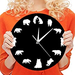 The Geeky Days American Forest Mountain Grizzly Nursery Wall Clock Modern Design Bears With Different Poses Minimalist Home Decor Wall Watch Clock