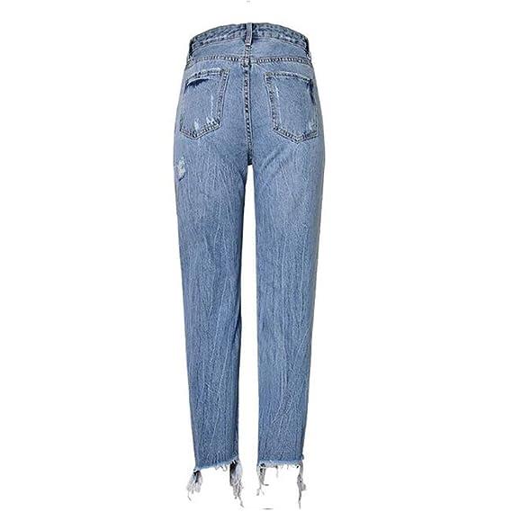 Jeans de Cintura Alta de Mujer Slim Fit Pantalon Recto Perla ...