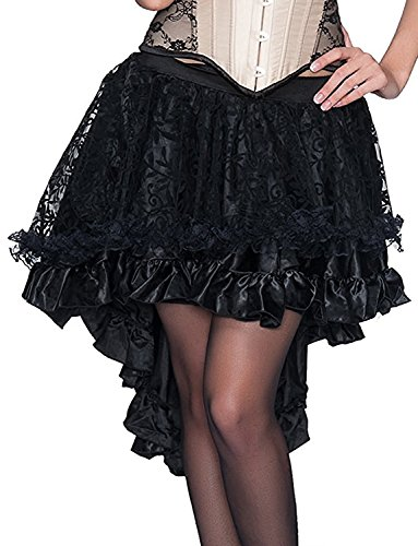 Kimikal Gothic Steampunk Long Sateen Corset Skirt (XXXX-Large (Waist 31.5 inches), Black 3) -