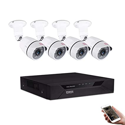 Tonton 8CH Full HD 1080P Security Camera System, Surveillance Video  Recorder and (4) 2 0MP 1920TVL Waterproof Outdoor Indoor CCTV Bullet Camera  with