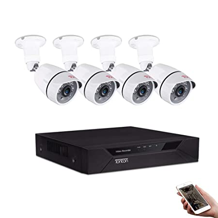 Tonton 8CH Full HD 1080P Security Camera System, Surveillance Video Recorder and 4 2.0MP 1920TVL Waterproof Outdoor Indoor CCTV Bullet Camera with Face Detection and Perimeter Protection NO HDD