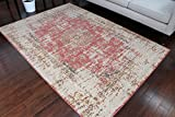 RUSTIC Collection Antique Style Wool Exposed Cotton and Jute Oriental Carpet Area Rug Rugs Charcol Rust Beige 7008 Red 8x11 8x10 7'10x10'2