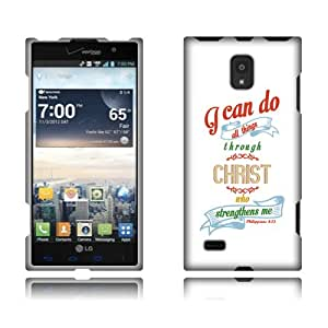 Fincibo (TM) LG Spectrum 2 VS930 Protector Hard Plastic Snap On Cover Case - Christian Bible Verse Philippians 4:13, Front And Back