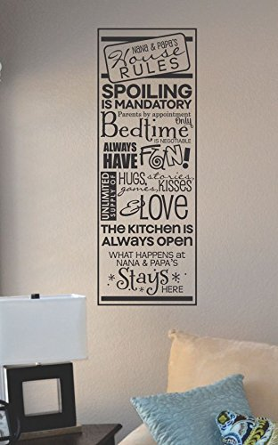 Amazoncom Nanas And Papas House Rules Vinyl Wall Art Decal - House rules wall decals