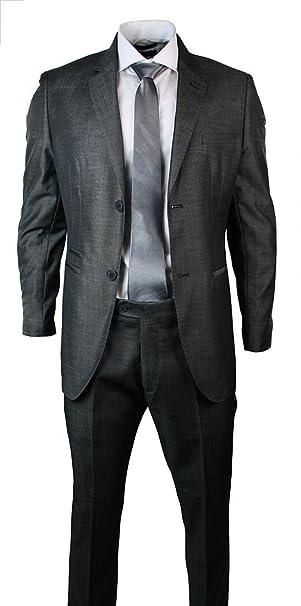 Abito 2 Pezzi da Uomo Completo Elegante Grigio Scuro Blazer   Pantaloni  grigio 46UK 4f2291b6be3