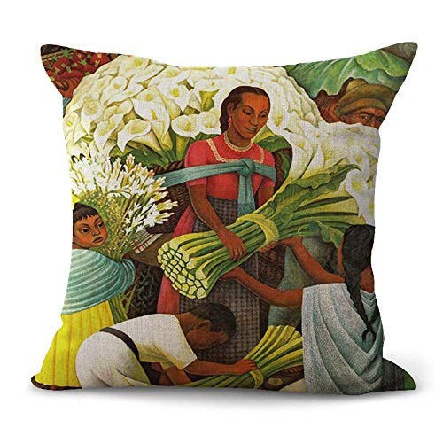WholesaleSarong Diego Rivera Carla Lily Vendor Cushion Cover Pillowcase for Couch Mexican Painter Artist Artwork Mexico Latino Art