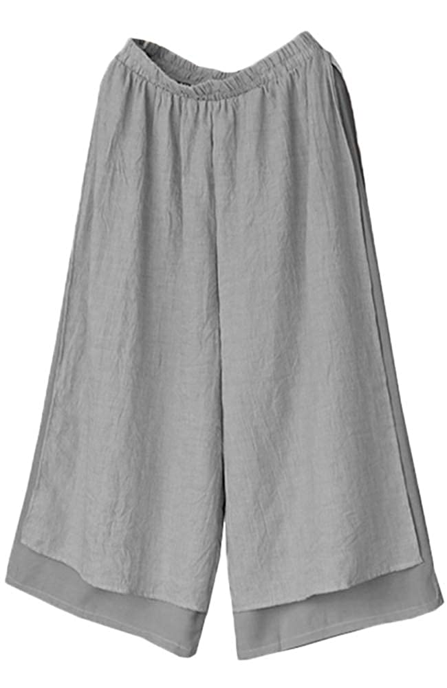 Women's Casual Double Layer Gray Loose Fit Wide Leg Cotton Chinese Pirate Pants by Mordenmiss - DeluxeAdultCostumes.com