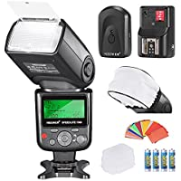 Neewer PRO i-TTL FlashDeluxe Kit for NIKON DSLR D7100 D7000 D5300 D5200 D5100 D5000 D3200 D3100 D3300 D90 D800 D700 D300 D300S D610, D600, D4 D3S D3X D3 D200 N90S F5 F6 F100 F90 F90X D4S D SLR Camera,Include:(1)Neewer 750II iTTL Flash For Nikon+(1)Universal Mini Flash Bounce Diffuser Cap+(1)35-piece Color Gel Filters+(1)Flash Diffuser+(1)16 Channels Wireless Remote Flash Trigger+(4)LR Battery