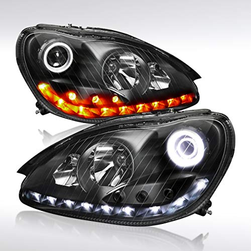 Mercedes Benz S500 Coupe - Autozensation For Mercedes Benz W220 S-Class Black Halo Projector Headlights+Amber LED Signal