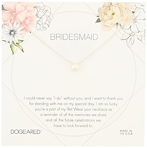 Dogeared Bridesmaid Flower Card Small ButtonWhite Pearl Chain Neckalce, Sterling Silver, 16