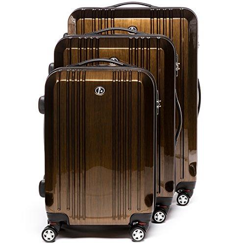 FERGÉ Dreier Kofferset CANNES - 3 Trolley-Hartschalenkoffer mit 4 Rollen - Trolley-Koffer bronze-metallic
