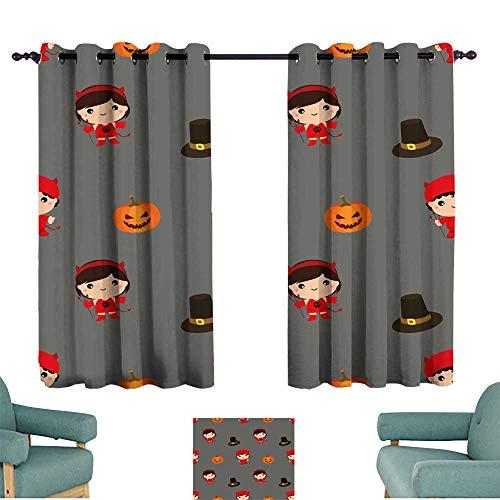 Warm Family Polyester Curtain Halloween Pattern Kid Costume Pattern 70%-80% Light Shading, 2 Panels,
