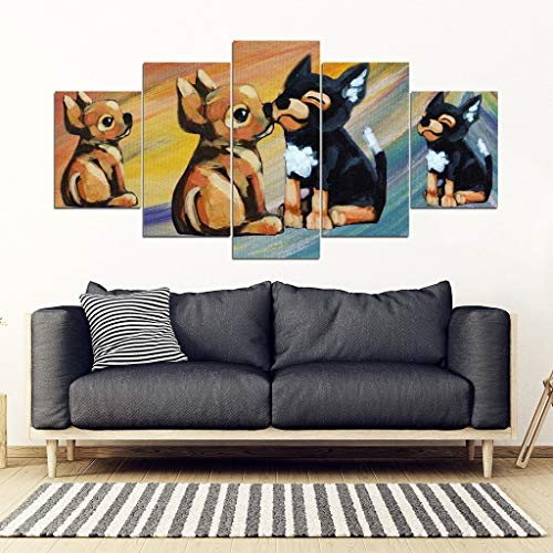 Blue Octopus Boutique Chihuahua Dog Love Print-5 Piece Framed Canvas