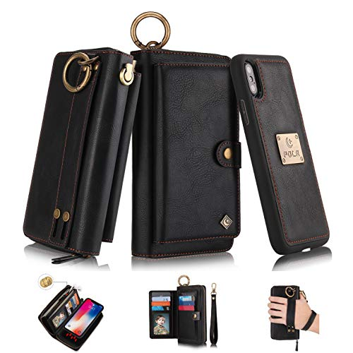 iPhone Xs Max Flip Wallet Case,SXTBMR Magnetic Detachable Handmade Cowhide Wallet Case Leather,Zipper Wallet Flip Protective Case Cover with Card Holder [Wrist Strap] for iPhone Xs Max Black