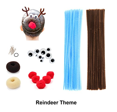 Beaute Galleria Creativity Kids Crafts DIY Hair Accessories Decor Chenille Stem Pipe Cleaner Pom Pom Googly Eye Bun Maker for Halloween Costume Spider Reindeer Christmas (Blue/Brown)