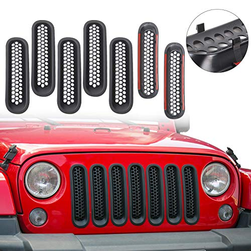 Matte Black Clip-in Front Grill Mesh Grille Insert Kit Honeycomb for Jeep Wrangler JK Unlimited 2007 - 2015 (Pack of 7) ()