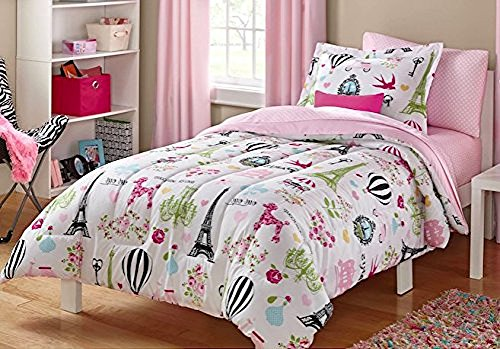 I Love Paris, Girls Twin Pink White and Black Cute Parisian Bedding Set (4 Piece Bed in a Bag) (Paris Sheets Twin)