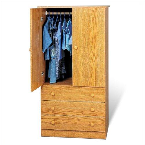Prepac Edenvale Oak Junior Wardrobe with 3 Drawers