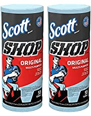 75130 Scott Single Rolls Blue Shop Towels Disposable 55 Sheets Each Pack 110 Total Paper Towels (2 PACK BUNDLE) Professional DIY Oil Absorbent Wipes 39.5 Sq Feet a Roll