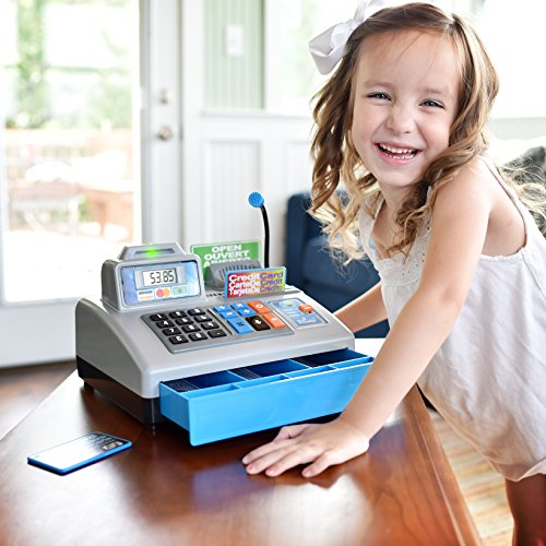 51ISZejF31L - Ben Franklin Toys Talking Toy Cash Register - store learning play set with 3 languages, paging microphone, credit card, bank card and play money