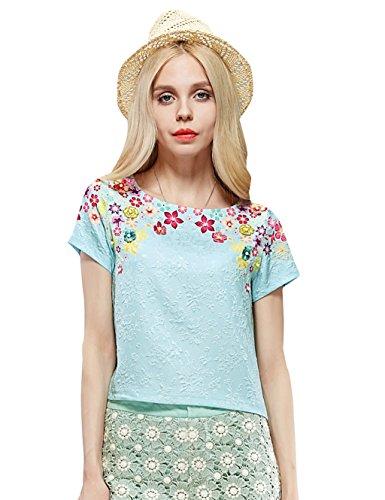 Elf Sack Womens' Summer T-shirt 3D Flowers Print Small Size Green