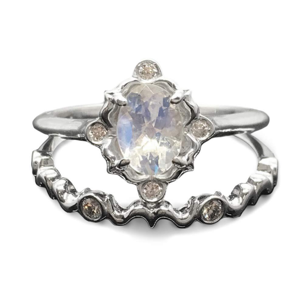 Vintage Moonstone engagement ring round cut rose gold diamond unique wedding milgrainDelicate Minimalist anniversary,tahnksgiving gift