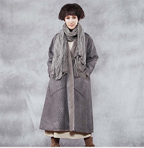 jacket The with women's pocket GAOXU stitching cotton art original new long female Lingge winter padded vwpRqd0