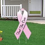 VictoryStore Yard Sign Outdoor Lawn Decorations: Breast Cancer Awareness Pink Ribbon Yard Sign with Stakes - Set of 25 - 12.8'' X 23.5''