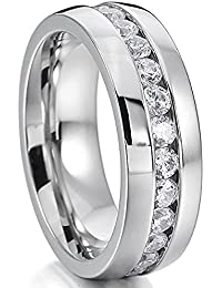 Men's Wedding Band 6mm Dome Stainless Steel Tungsten Ring Simulated Diamond CZ Inlay Silver Size 6-11
