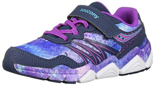 Saucony Girls' Kotaro Flash A/C Sneaker, Navy/Purple, 2.5 Medium US Little Kid