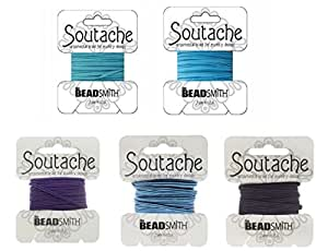 Beadsmith Soutache Braided Rayon Cord / Trim 3mm Wide - 5-Color Combo - Ocean (3 Yds per color)