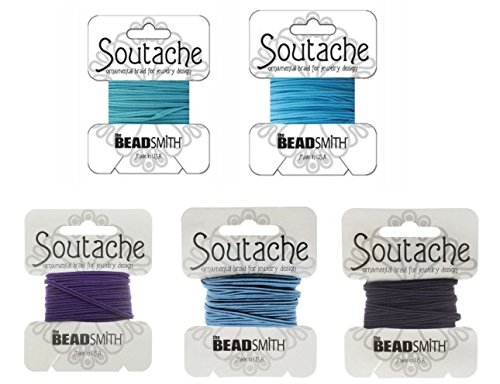 Beadsmith Soutache Braided Rayon Cord / Trim 3mm Wide - 5-Color Combo - Ocean (3 Yds per ()