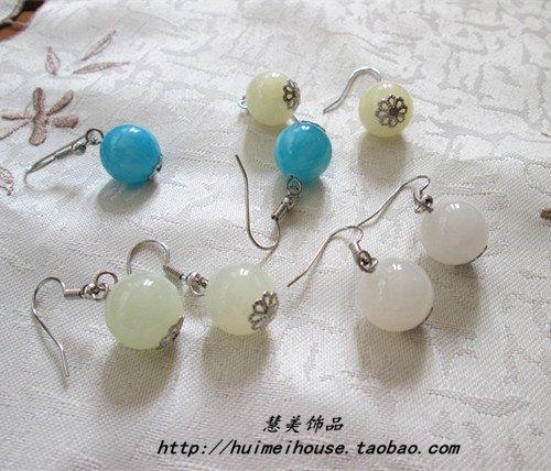 Original design national wind handmade candy-colored jade Afghanistan beads ear hook earrings 12