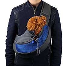 Changeshopping Pet Dog Cat Puppy Carrier Mesh Travel Tote Shoulder Bag Backpack (L, Blue)
