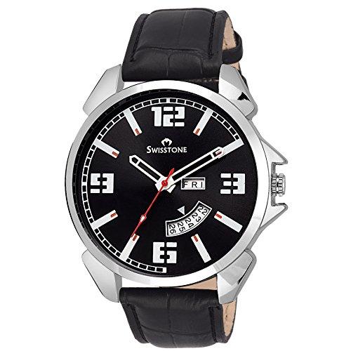 Swisstone WT95-BLACK Black Dial Black Leather Strap Day Date wrist watch for Men/Boys