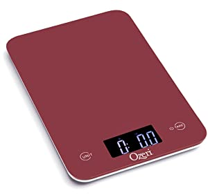 Ozeri Touch Professional Tempered Glass Digital Kitchen Scale, Red Engine