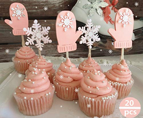 Set of 20 JeVenis Pink Winter Onederland Girl Cupcake Decoration Snowflake Cupcake Toppers for Christmas Winter Wonderland Party Baby Shower ()