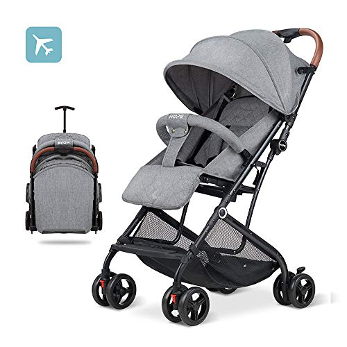 2019 Baby Stroller,Lightweight Compact Travel Stroller – One Hand Fold,Umbrella Stroller,Linen Fabric,Full Recline Up 170° – Baby Can Sit Or Lie Down, Pull Handle, Can Take It On The Airplane (Grey)