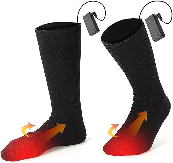 pour Sports dhiver//Ext/érieur Batterie 4000 mAh eventek Chaussettes Chauffantes Chaussettes Thermiques Rechargeables /électriques dhiver /à 3 R/églages de Chauffage Jusqu/à 10 Heures de Chaleur